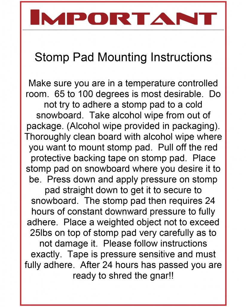 Microsoft Word - Stomp pad mounting instructions.docx